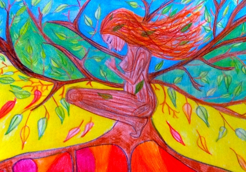tree woman drawing