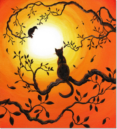 cat and crow