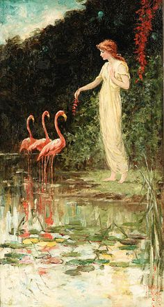 standing woman flamingoes